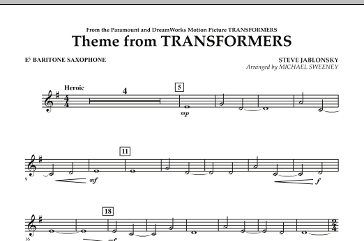 Theme From Transformers - Eb Baritone Saxophone (Concert Band)