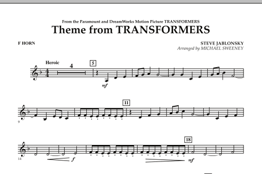 Theme From Transformers - F Horn (Concert Band)