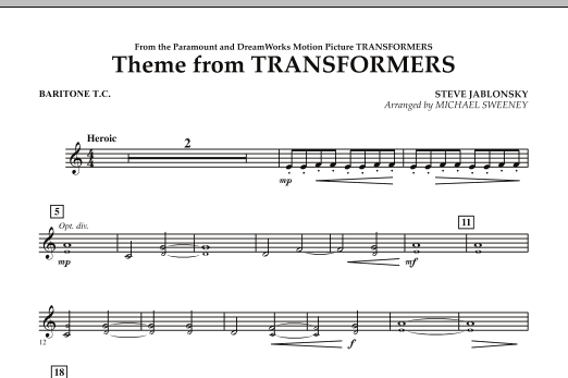 Theme From Transformers - Baritone T.C. (Concert Band)