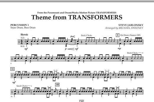 Theme From Transformers - Percussion 1 (Concert Band)