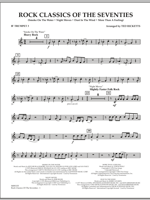 Rock Classics Of The Seventies - Bb Trumpet 3 (Concert Band)