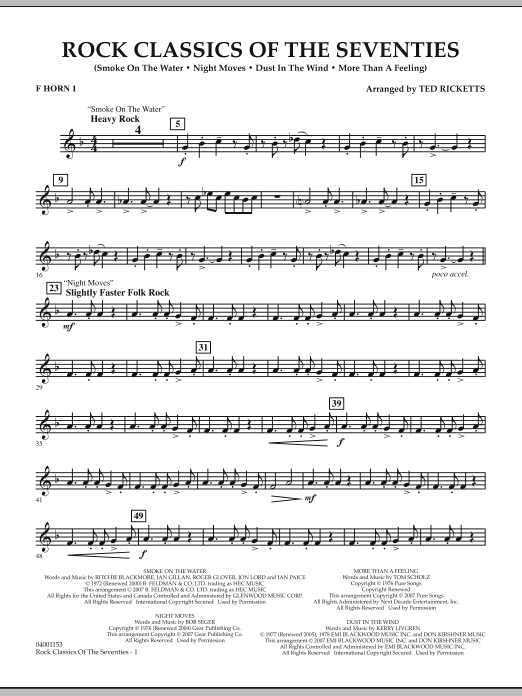Rock Classics Of The Seventies - F Horn 1 (Concert Band)