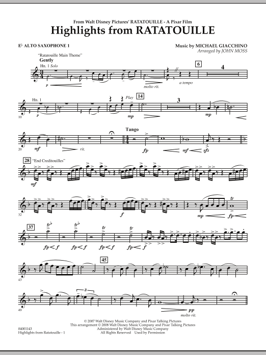Highlights from Ratatouille - Eb Alto Saxophone 1 (Concert Band)
