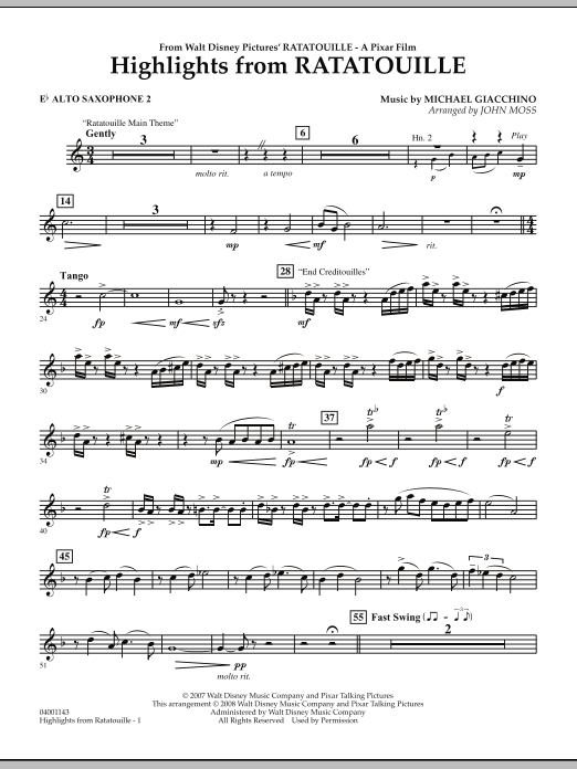 Highlights from Ratatouille - Eb Alto Saxophone 2 (Concert Band)