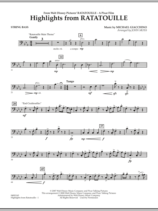 Highlights from Ratatouille - String Bass (Concert Band)