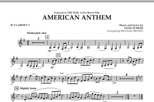 American Anthem (from The War) - Bb Clarinet 3 (Concert Band)