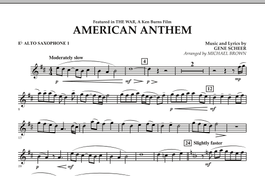 American Anthem (from The War) - Eb Alto Saxophone 1 (Concert Band)