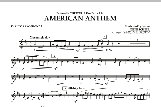 American Anthem (from The War) - Eb Alto Saxophone 2 (Concert Band)