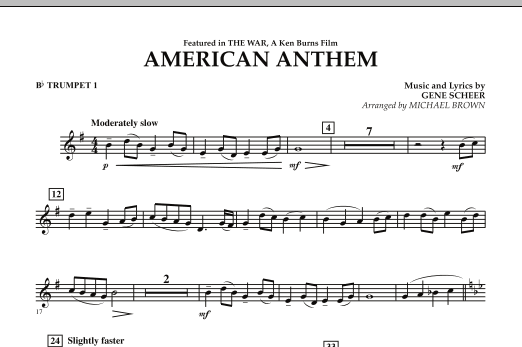 American Anthem (from The War) - Bb Trumpet 1 (Concert Band)