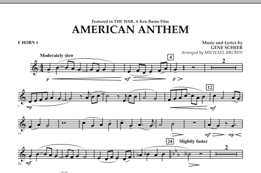 American Anthem (from The War) - F Horn 1 (Concert Band)