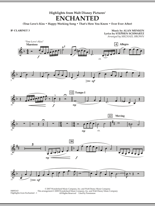 page one of Highlights from Enchanted - Bb Clarinet 3ASALTTEXT