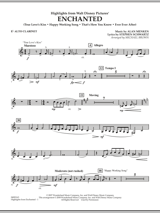 page one of Highlights from Enchanted - Eb Alto ClarinetASALTTEXT