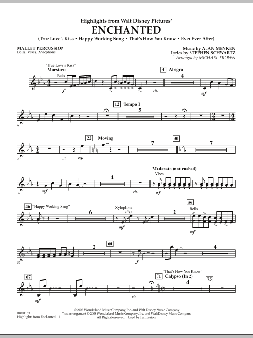 page one of Highlights from Enchanted - Mallet PercussionASALTTEXT