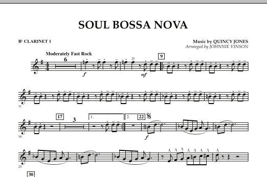 Soul Bossa Nova - Bb Clarinet 1 (Concert Band)