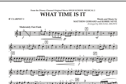 What Time Is It (from High School Musical 2) - Bb Clarinet 2 (Concert Band)
