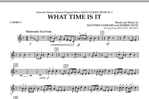 What Time Is It (from High School Musical 2) - F Horn 1 (Concert Band)