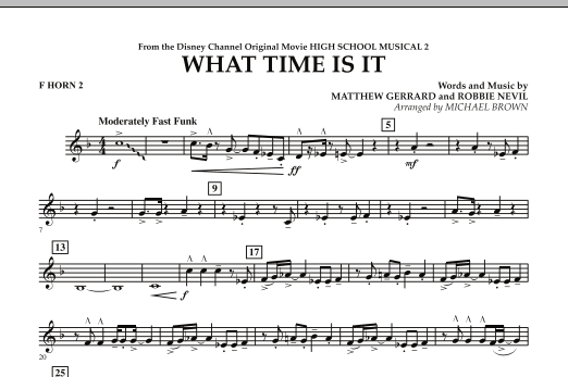 What Time Is It (from High School Musical 2) - F Horn 2 (Concert Band)