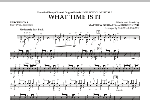 What Time Is It (from High School Musical 2) - Percussion 1 (Concert Band)