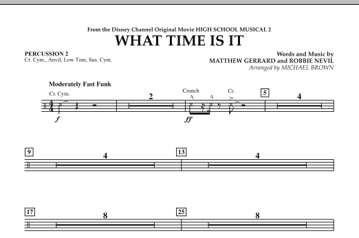 What Time Is It (from High School Musical 2) - Percussion 2 (Concert Band)