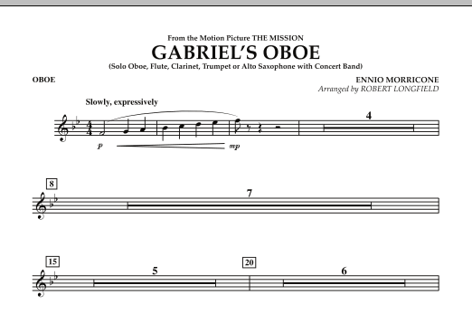 Gabriel's Oboe (from The Mission) - Oboe (Concert Band)
