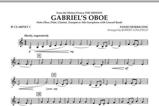 Gabriel's Oboe (from The Mission) - Bb Clarinet 1 (Concert Band)