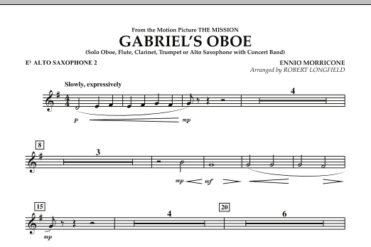 Gabriel's Oboe (from The Mission) - Eb Alto Saxophone 2 (Concert Band)