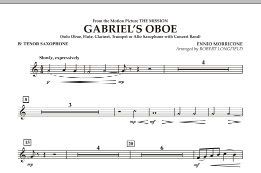 Gabriel's Oboe (from The Mission) - Bb Tenor Saxophone (Concert Band)