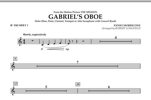Gabriel's Oboe (from The Mission) - Bb Trumpet 1 (Concert Band)