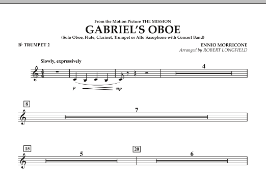 Gabriel's Oboe (from The Mission) - Bb Trumpet 2 (Concert Band)
