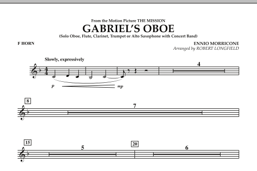 Gabriel's Oboe (from The Mission) - F Horn (Concert Band)