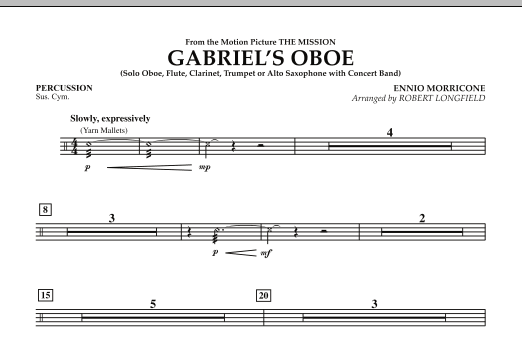 Gabriel's Oboe (from The Mission) - Percussion (Concert Band)