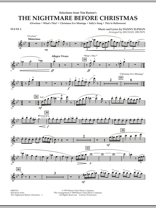 Nightmare Before Christmas Piano Sheet Music.Selections From The Nightmare Before Christmas Flute 2 By Michael Brown Concert Band Digital Sheet Music