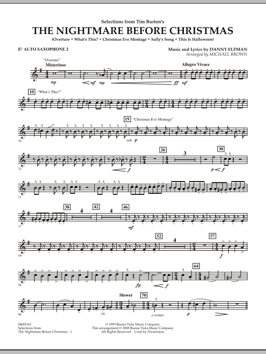 Nightmare Before Christmas Piano Sheet Music.Selections From The Nightmare Before Christmas Eb Alto Saxophone 2 By Michael Brown Concert Band Digital Sheet Music