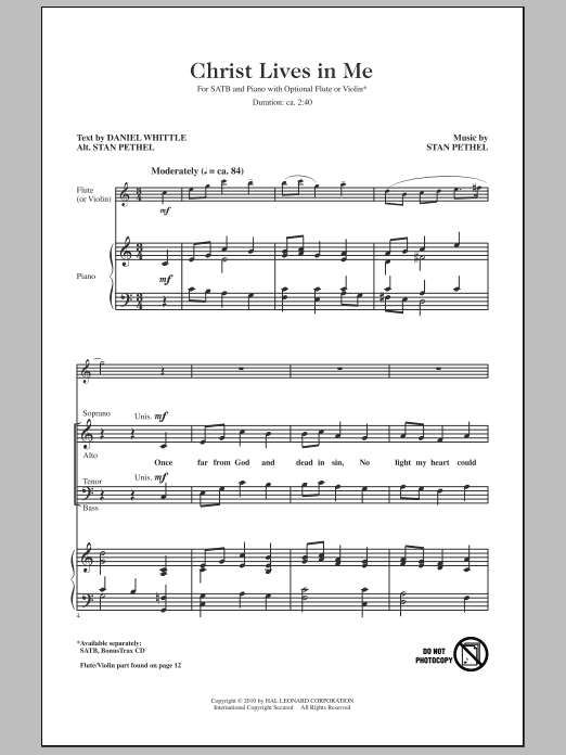 Christ Lives In Me Sheet Music