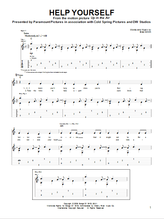 Tablature guitare Help Yourself de Sad Brad Smith - Tablature Guitare