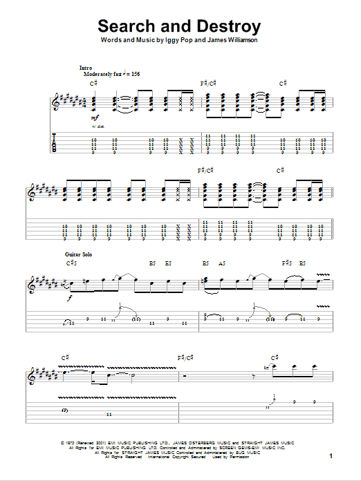 Tablature guitare Search And Destroy de The Stooges - Autre