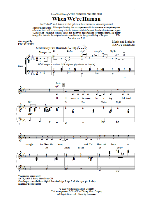 Partition chorale When We're Human (from The Princess And The Frog) de Ed Lojeski - 2 voix