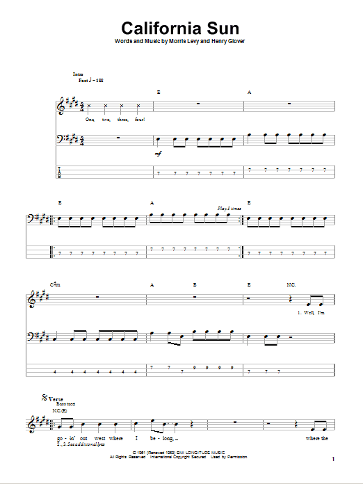 Tablature guitare California Sun de The Rivieras - Tablature Basse