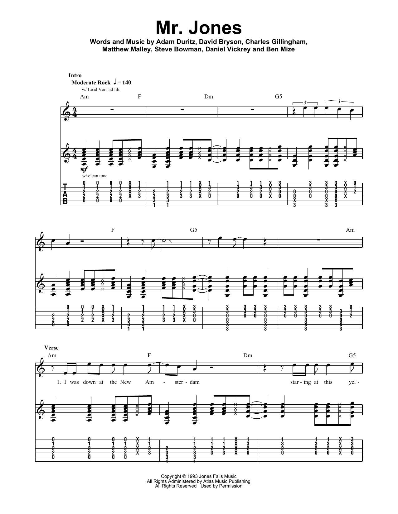 Tablature guitare Mr. Jones de Counting Crows - Playback Guitare