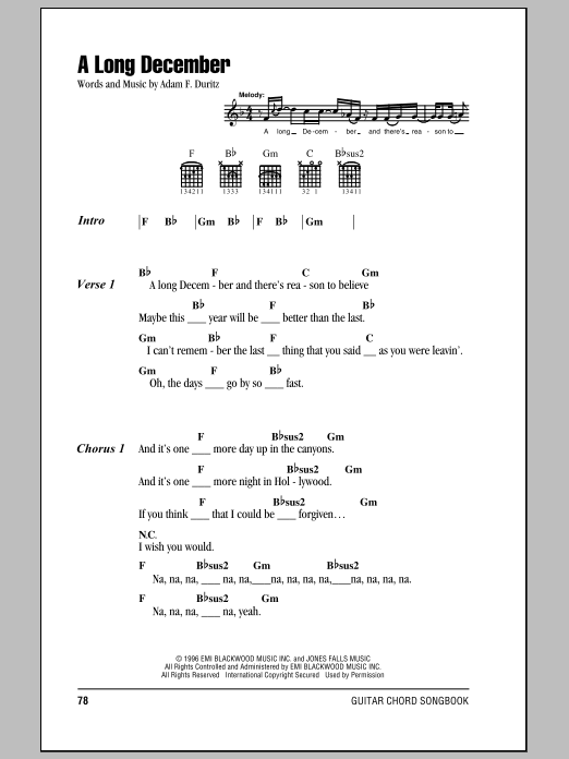 A Long December Sheet Music Direct