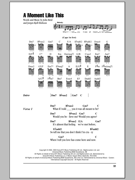 A Moment Like This Sheet Music Direct