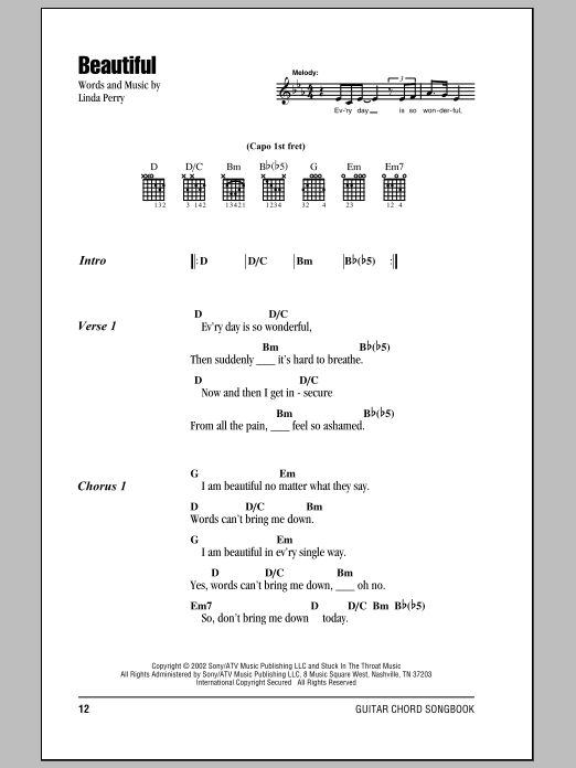 Beautiful by Christina Aguilera - Guitar Chords/Lyrics - Guitar ...