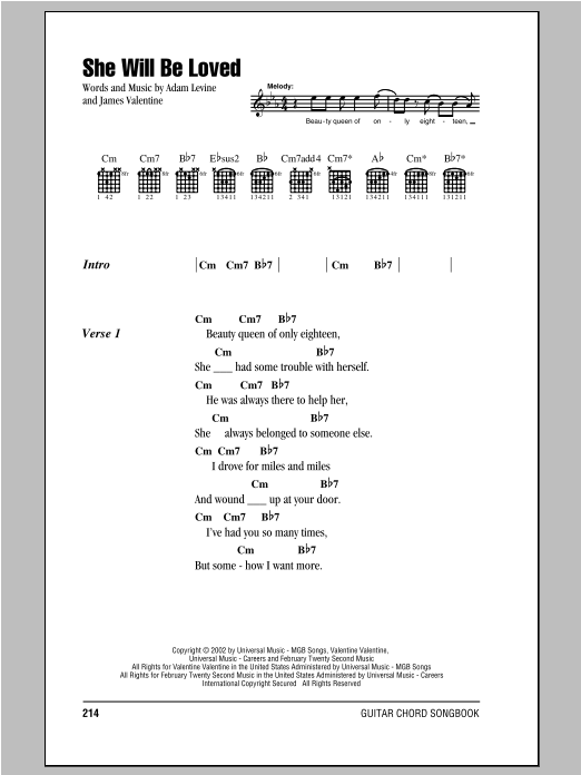 She Will Be Loved Sheet Music Direct
