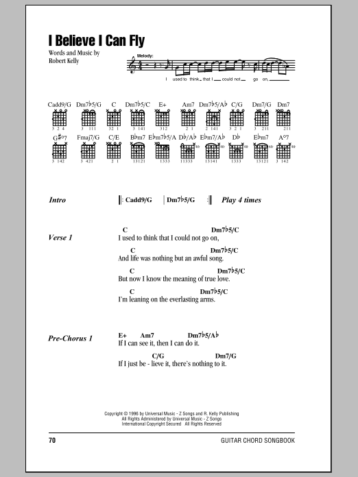 I Believe I Can Fly sheet music by R. Kelly (Lyrics & Chords – 85085)