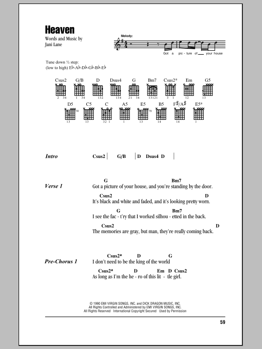 Heaven by Warrant - Guitar Chords/Lyrics - Guitar Instructor