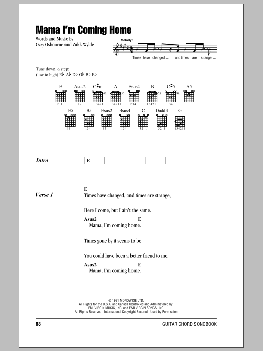 Mama, I'm Coming Home (Guitar Chords/Lyrics)