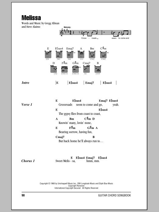 Melissa Sheet Music