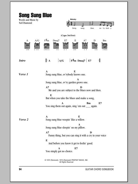 Song Sung Blue sheet music by Neil Diamond (Lyrics & Chords – 78825)