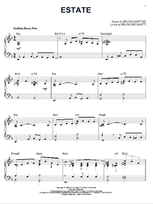 Estate [Jazz version] (arr. Brent Edstrom) (Piano Solo)