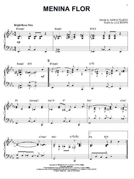 Partition piano Menina Flor de Luiz Bonfa - Piano Solo